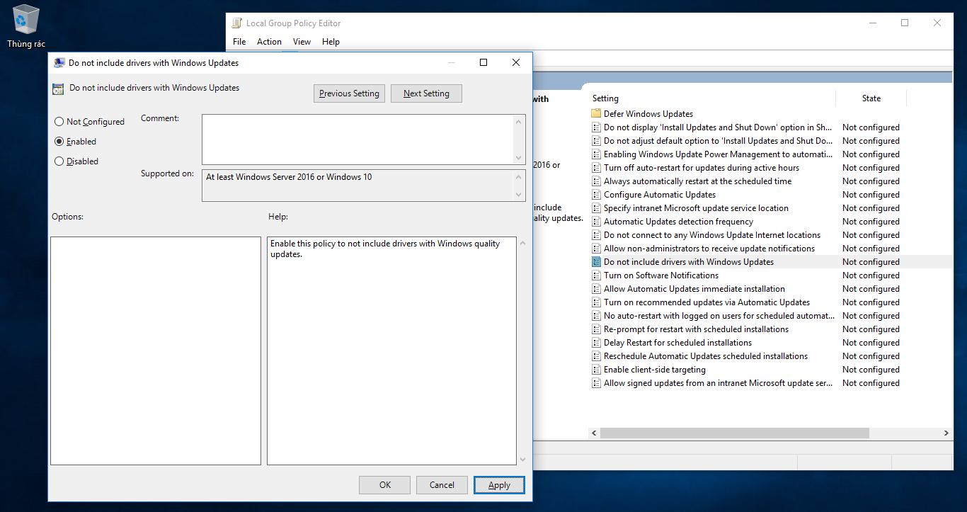 Chặn Windows 10 tự động tải về cài đặt drivers trong windows updates