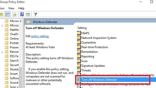 Bấm chuột vào Windows Defender, sau đó kéo xuống chọn Turn off Windows Defender