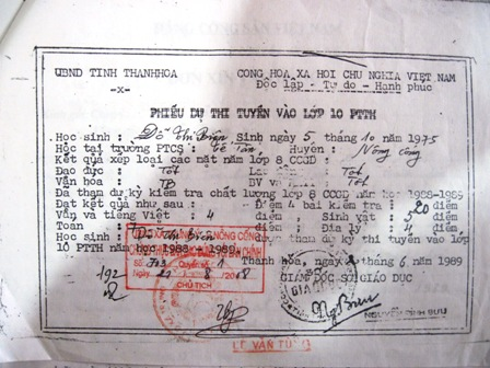 Trong hồ sơ Đảng của bà Biên không có bằng THCS mà chỉ có Phiếu dự thi tuyển vào lớp 10 PTTH