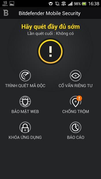 Dưới đây là những tính năng chính của ứng dụng BitDefender Mobile Security & Antivirus:
