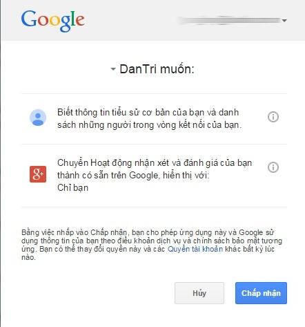 Cho phép sử dụng tài khoản Google để gửi bình luận trên