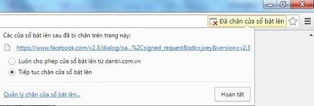 Cho phép mở pop-up trên trình duyệt Chrome