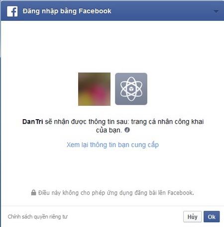 Chấp nhận sử dụng tài khoản Facebook để gửi bình luận lên