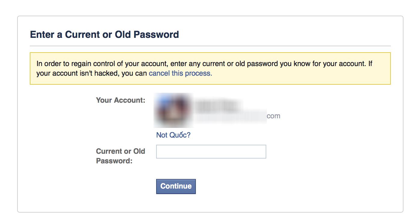 Hãy nhập vào mật khẩu trước đó của người dùng