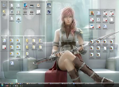 Một màn hình desktop với các biểu tượng đã được Fences phân chia ra thành từng nhóm