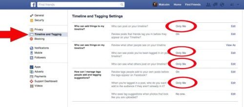 Tiếp theo, chọn thẻ Timeline and Tagging Settings bên trái giao diện. Sau đó, chuyển tất cả các mục sau sang chế độ Only Me, gồm Who can post on your timeline, Who can see posts youre tagged in on your timeline, Who can see what others post to your timeline và When youre tagged in a post.