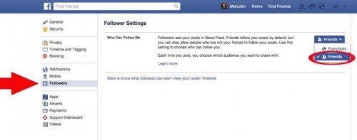Facebook có chế độ cho phép người khác theo dõi bạn mà không cần phải có bạ bè với nhau. Để đảm bảo không bị theo dõi theo hình thức này, trong mục Who can follow me, bạn chuyển từ Everybody sang Friends.