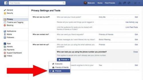 Tương tự, để tránh ánh mắt tò mò từ người khác khi họ tìm kiếm bạn trên Facebook bằng số điện thoại, có thể chuyển từ Everyone sang Friends trong Who can look you up using the phone number you provided?.