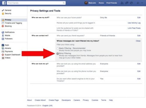 Để Facebook kiểm soát tốt hơn các tin nhắn gửi tới bạn, có thể chuyển tùy chọn trong mục Whose messages do I want filtered into my inbox từ Basic thành Strict.