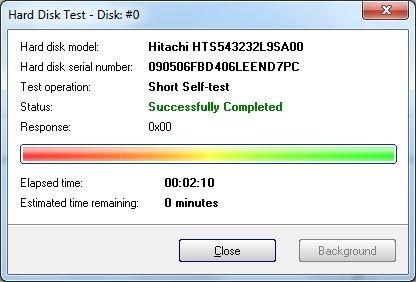Thông báo cho thấy ổ cứng không có lỗi sau khi quá trình thử nghiệm kết thúc