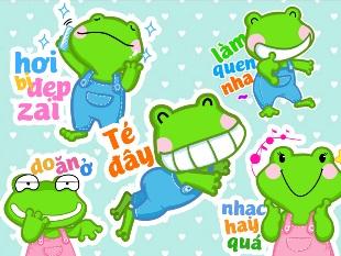 Bộ Voice Sticker Con ếch đáng yêu sẽ giúp bạn có cuộc làm quen thú vị với người bạn mới